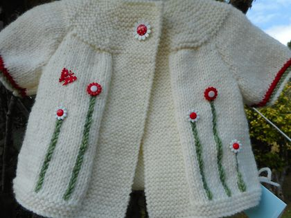 Butterfly and Daisy red and cream cardy