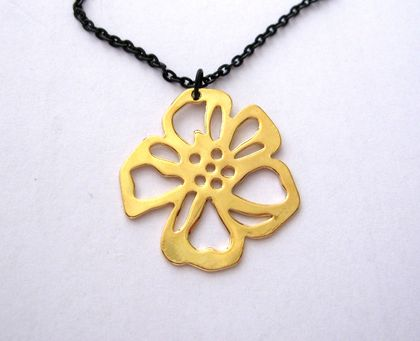 gold cherry blossom on long black chain