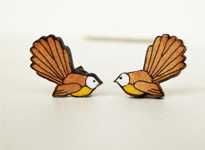 WOODEN STUD EARRING Fantail bird made from Matai timber