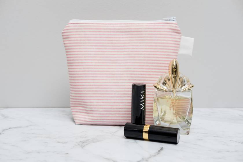 Pink and White striped Makeup Bag / cosmetic bag / toiletry bag