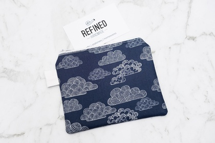 Small Zippered Pouch - Clouds