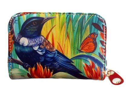 Leather Card Holder- NZ Tui and Monarch Butterfly