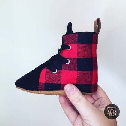 Buffalo Plaid Red and Black Hightop Boots Soft Sole Baby Toddler Shoes Lace Up | Boxing Boots |
