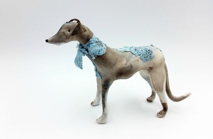 Greyhound Dog Textile Art Sculpture
