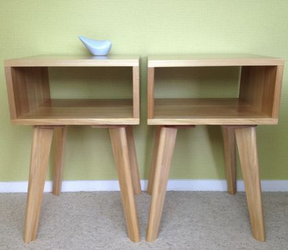 x 2 retro style tables with scandi inspiration. beautiful solid wood
