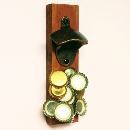 Wall Mounted Rimu Bottle Opener (with Magnetic Cap Catcher)