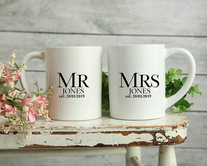 Custom Personalised Matching Wedding Mugs-Jones Design