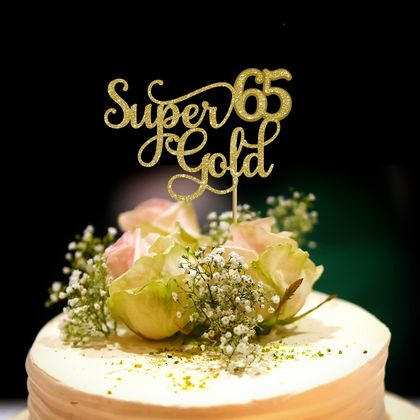 Super gold 65th Birthday Cake Topper
