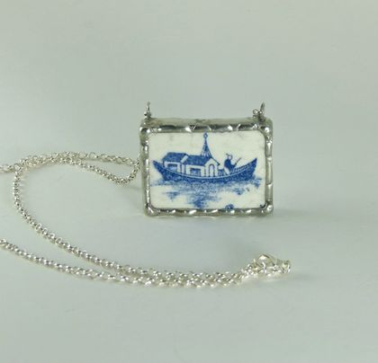 Blue Willow boat pendant