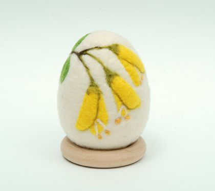 New Zealand Native Flower Felted Egg - Kowhai