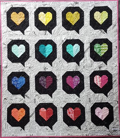 """iHeart You"" speech Bubbles quilt, a rainbow statement bespoke piece!"