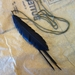 """Black """"feather"""" & strands necklace, up-cycled"""