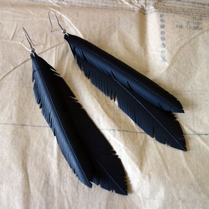 """Jacinda"" double feather earrings, up-cycled"