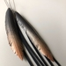 """Slender black """"feather"""" & strands earrings with coppery glow, up-cycled"""