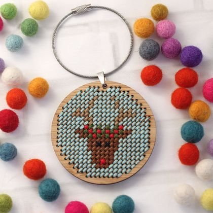 Reindeer Stitched Ornament Kit ~ Modern DIY Embroidery Decoration