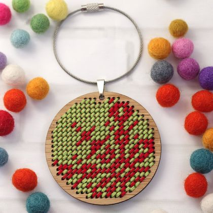 Green Snowflake Stitched Ornament Kit ~ Modern DIY Embroidery Decoration