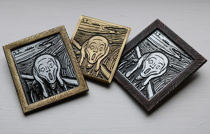 Wearable Art brooch 'The Scream'  Munch