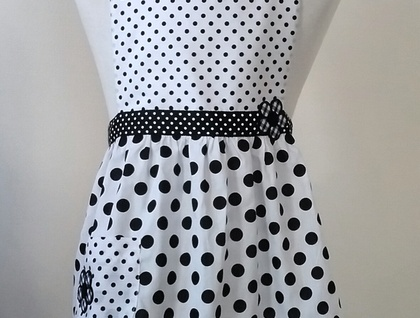 Children's apron - black and white apron - polka dot kid's apron