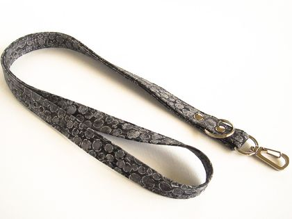 Black and Silver Lanyard for Keys, ID Badges, Name Tags or Key Cards