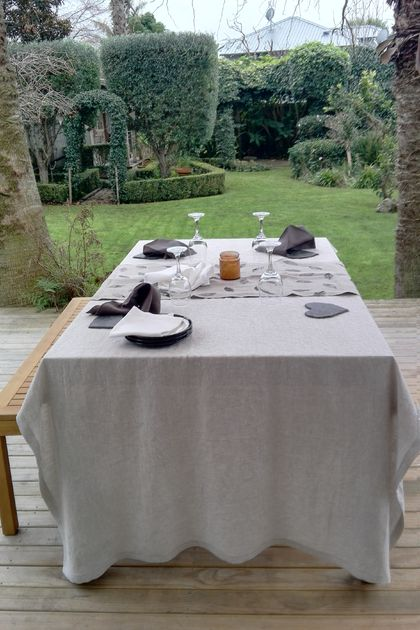 100% linen table cloth, rustic, heavyweight in natural linen
