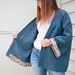 REDUCED - NOW $95 longer length wrapover linen jacket with kimono inspired sleeves