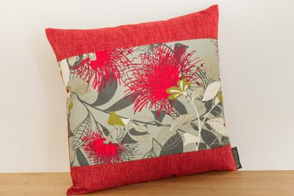 Set of 2 Grey Pohutukawa Cushion Covers with Red Boarder (Set of 2 covers)