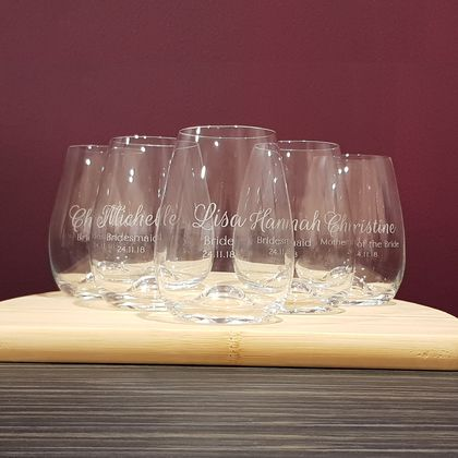 Personalised Bridesmaid Stemless wine glasses (Set of 5)