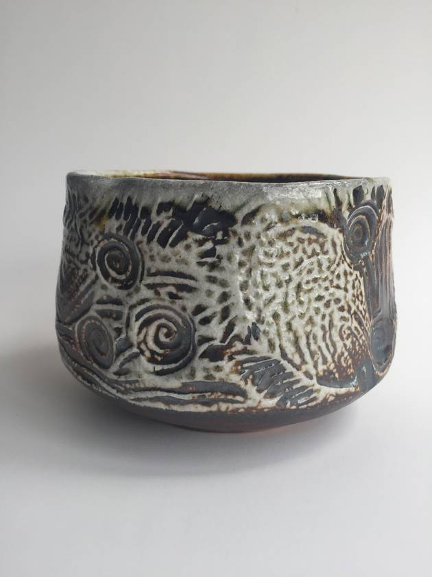 Wood Fired Stoneware:  Stamped Bowl 1