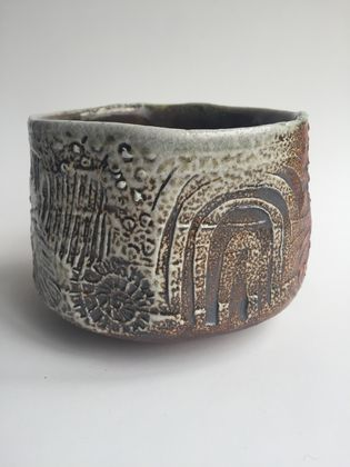 Wood Fired Stoneware:  Stamped Bowl 5