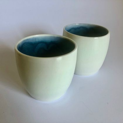 White and Blue Porcelain Cup