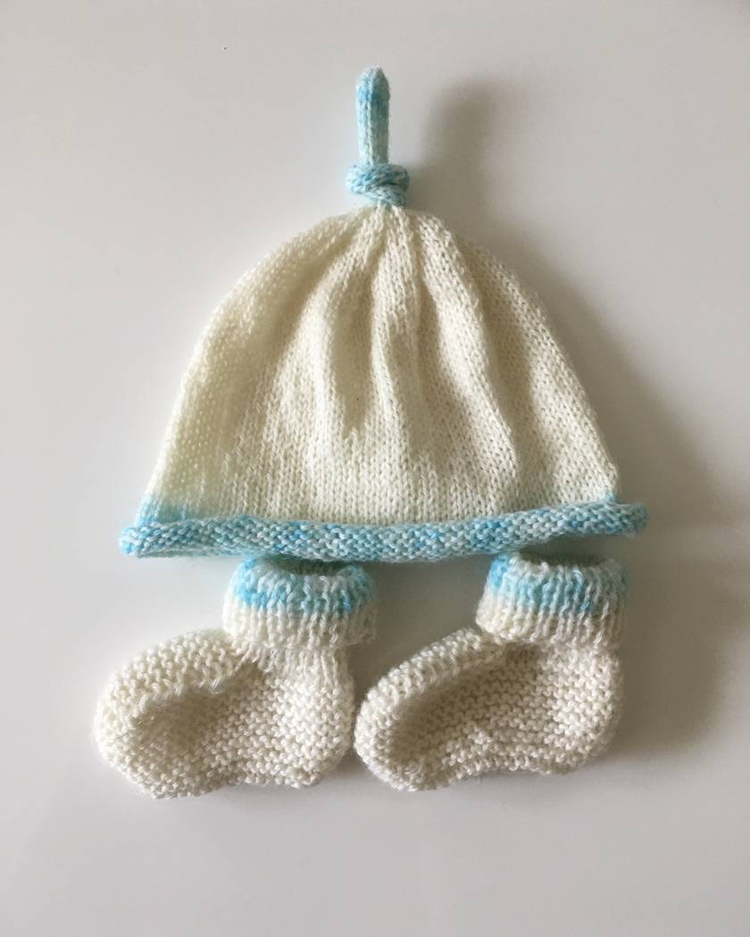 Sale - Hand Knitted Merino Hat & Booties Sets