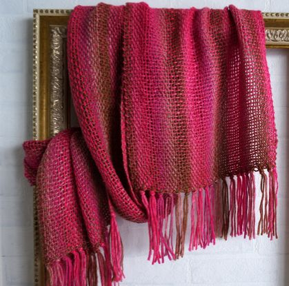 Oversized, handwoven unisex winter scarf in pink, brown and beige colors.
