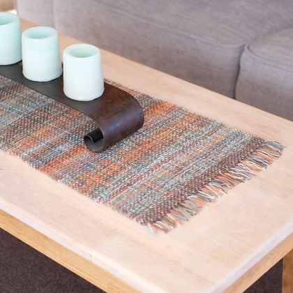 Handwoven, Retro colors, table runner, table protector.