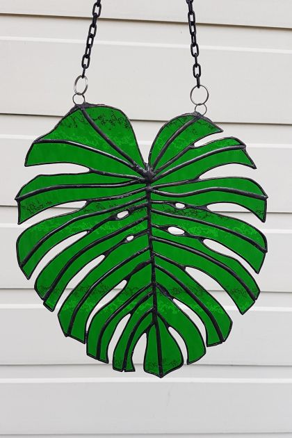 Monstera Leaf Glass Sun Catcher