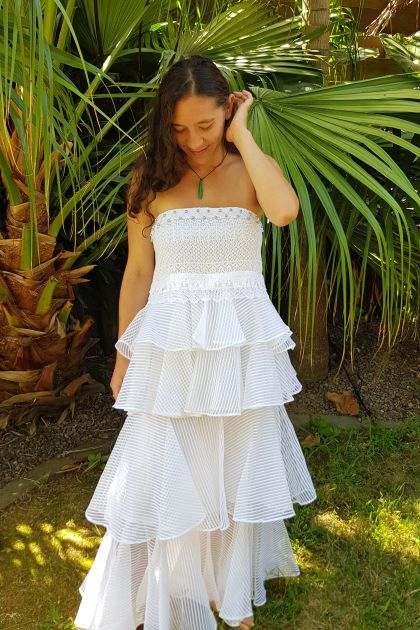 Upcycled Vintage White Summer Dress