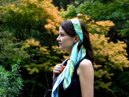 Square printed silk scarf with fish design