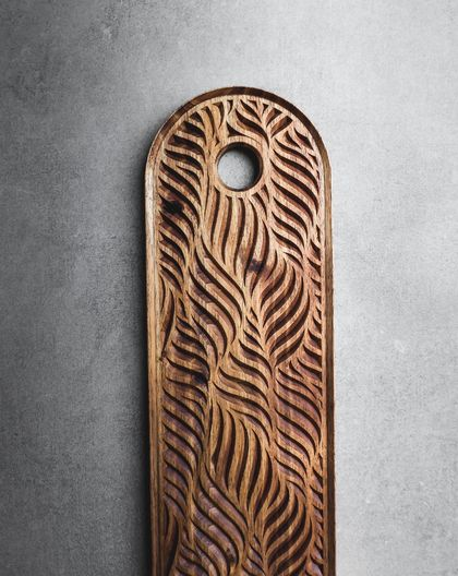 Serving Tray Hand Carved Fern Leaf Pattern