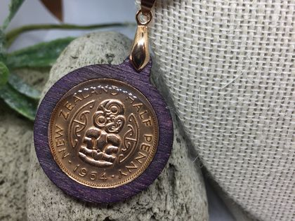 NZ half penny with tiki necklace in purple