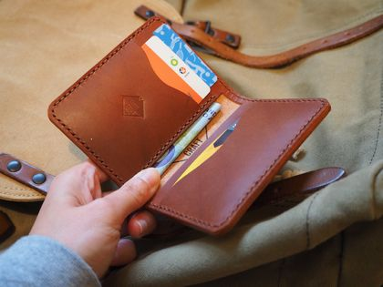 Minimalist Handmade Leather Card Wallet No.7 Taupo