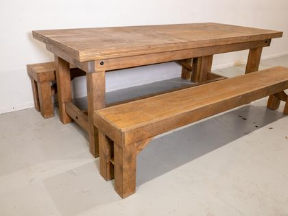Hand-Engineered Oak-Stained Table and Benches