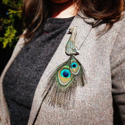 Porcelain brooch - Peacock