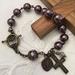 Burgundy Pearl Rosary Bracelet