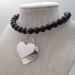 Sterling Silver Heart Choker w Glass Beads