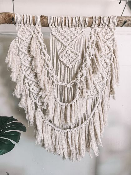 Macrame hanging on natural branch