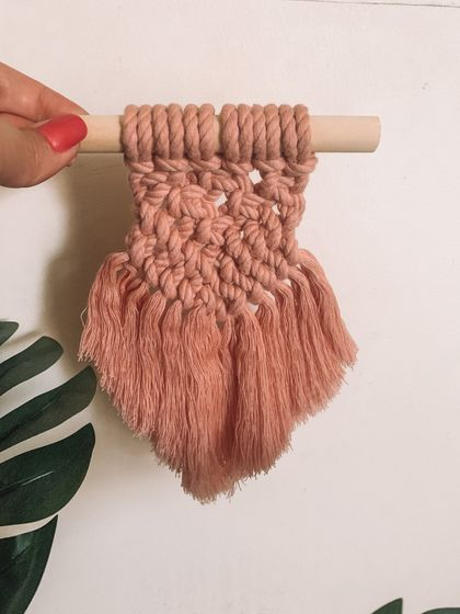 Mini pink macrame hanging
