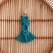 Small blue macrame keyring