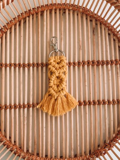Small yellow macrame keyring