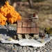 Miniature Miners Cottage with PURE GOLD NUGGETS, orange tree and cart