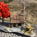Miniature Model Miners Cottage with PURE GOLD NUGGETS, red tree and two-wheel cart