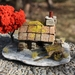 Miniature Model Miners Cottage with Red Tree and Two Wheel Cart